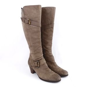 Paul Green Taupe Nubuck Knee High Buckle Boots